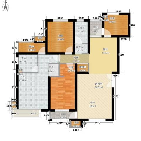 天房美域3室0厅2卫2厨134.00㎡户型图