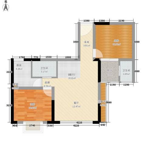 望邮公寓项目2室1厅2卫1厨88.00㎡户型图