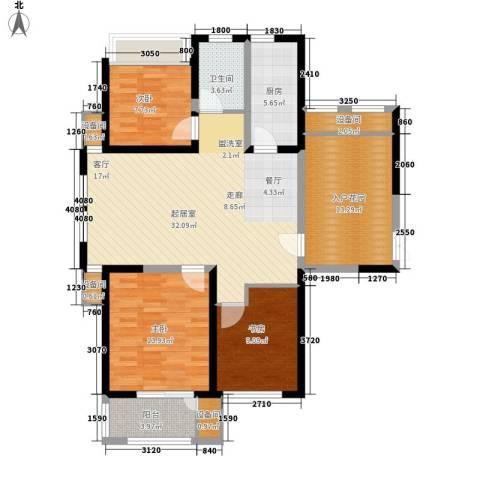 复地优尚国际3室0厅1卫1厨107.00㎡户型图