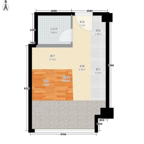 中元商务大厦公寓1卫0厨45.00㎡户型图