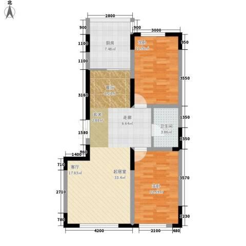 泰富苑2室0厅1卫1厨98.00㎡户型图
