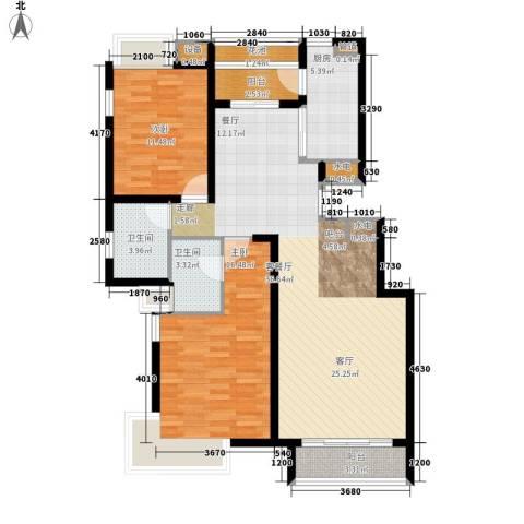 天房美域2室1厅2卫1厨104.00㎡户型图
