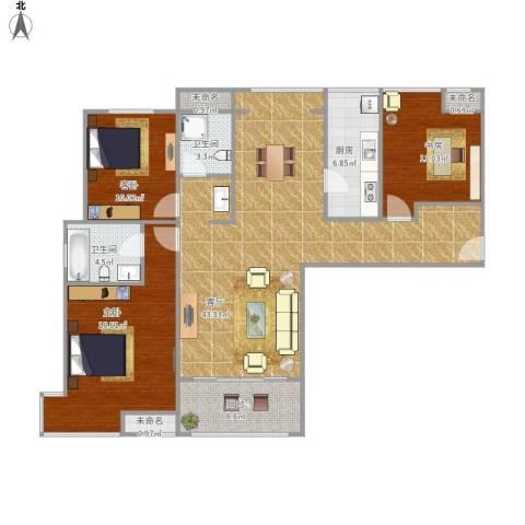 高科绿水东城3室1厅2卫1厨145.00㎡户型图