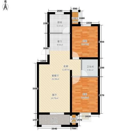 盛世峰景2室1厅1卫1厨104.00㎡户型图