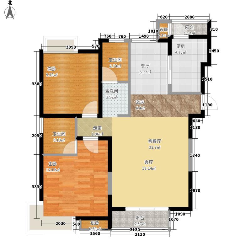 天房美域109.67㎡一期17、19、21号楼标准层A户型