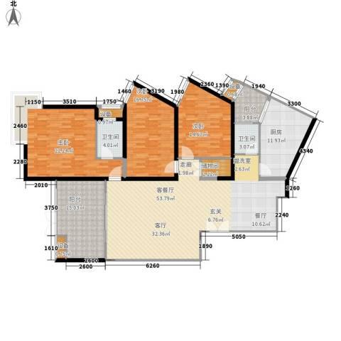 长江之家3室1厅2卫1厨166.00㎡户型图