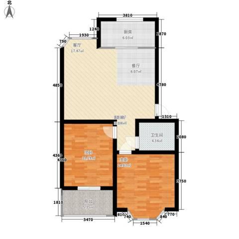 华阳山庄2室1厅1卫1厨87.00㎡户型图