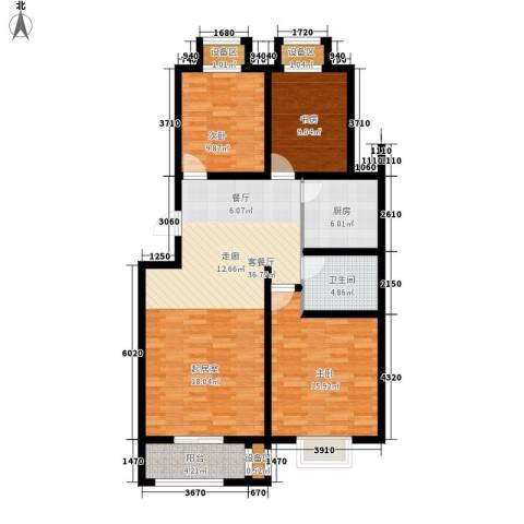 盛世峰景3室1厅1卫1厨128.00㎡户型图
