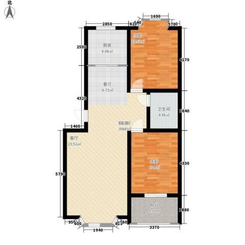 华阳山庄2室1厅1卫1厨92.00㎡户型图