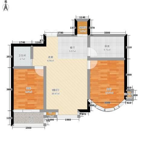和谐家园2室1厅1卫1厨90.00㎡户型图