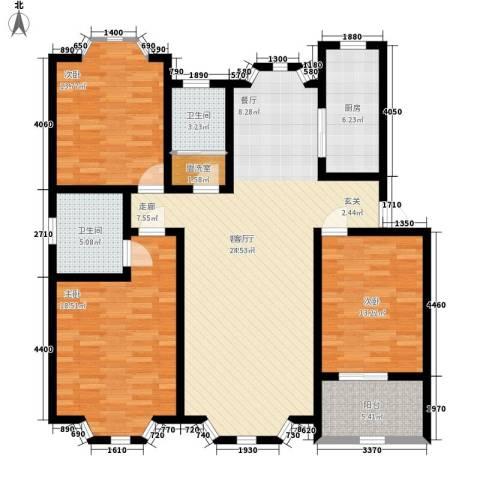 华阳山庄3室1厅2卫1厨123.00㎡户型图