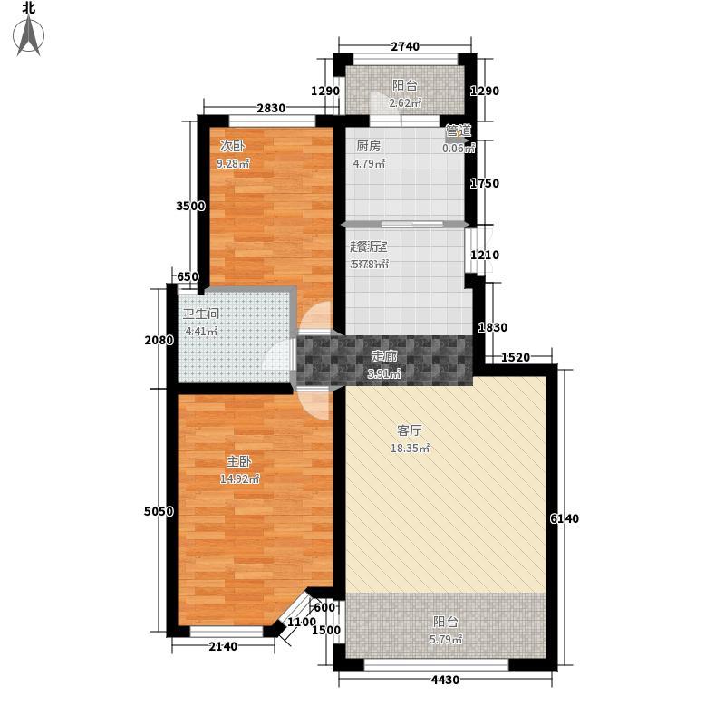 辰能溪树庭院8#2单元02号两室户型2室2厅