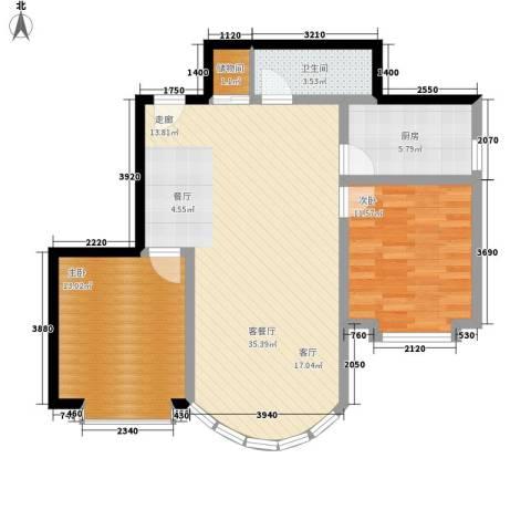 和谐家园2室1厅1卫1厨95.00㎡户型图