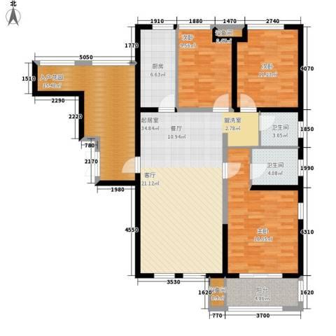 复地优尚国际3室0厅2卫1厨123.00㎡户型图