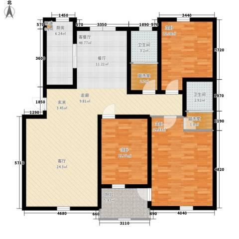 华阳山庄3室1厅2卫1厨131.00㎡户型图