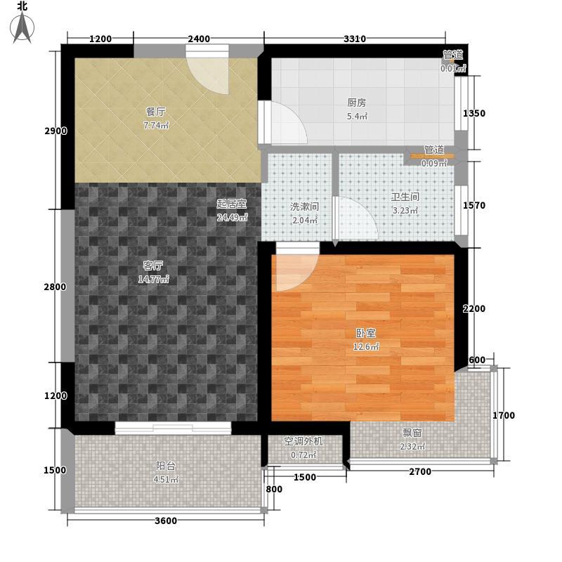 紫薇曲江意境66.00㎡二期1#公寓01户型