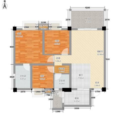 鸿阁一号3室1厅2卫1厨108.00㎡户型图
