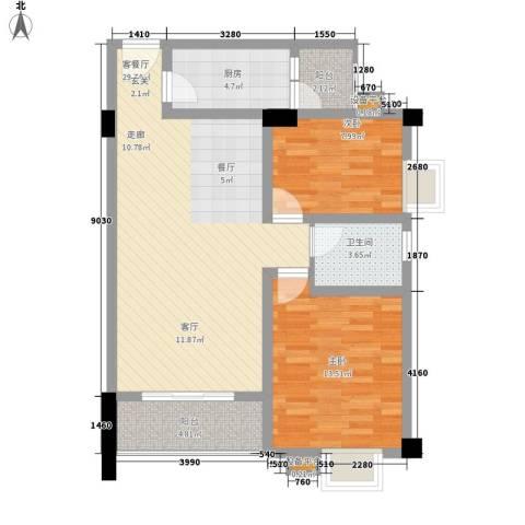鸿阁一号2室1厅1卫1厨87.00㎡户型图
