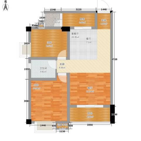 鸿阁一号2室1厅1卫1厨84.00㎡户型图