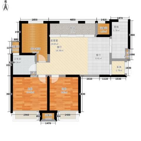 复地优尚国际2室0厅1卫1厨88.00㎡户型图