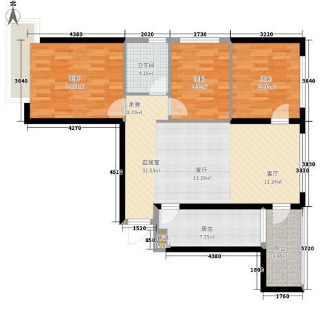 恒大帝景3室0厅1卫1厨116.00㎡户型图