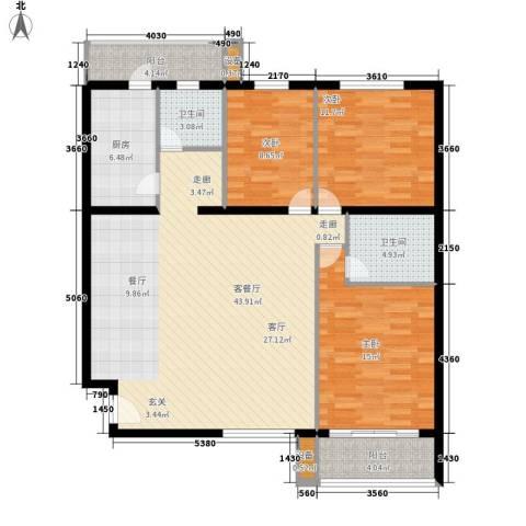 凤凰花园城3室1厅2卫1厨115.00㎡户型图