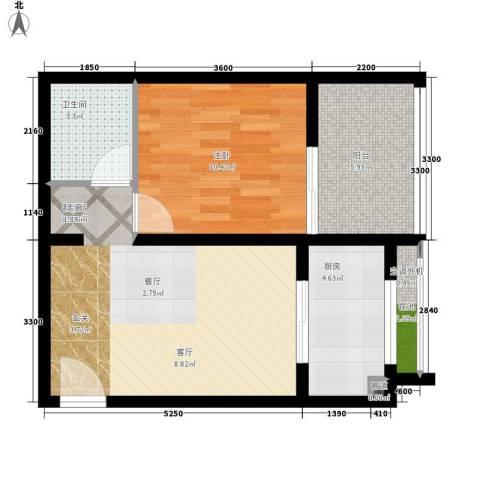 星海嘉苑1室1厅1卫1厨63.00㎡户型图