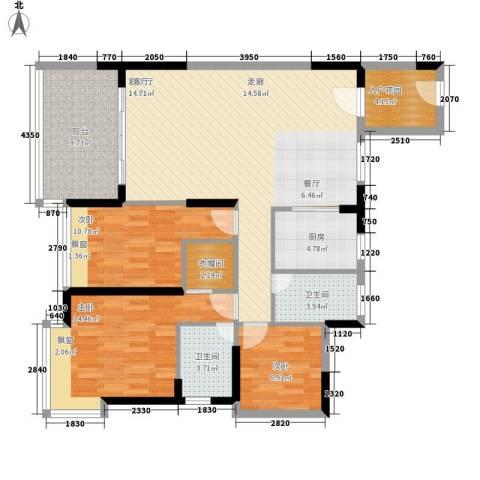 金凯盛誉城3室1厅2卫1厨143.00㎡户型图