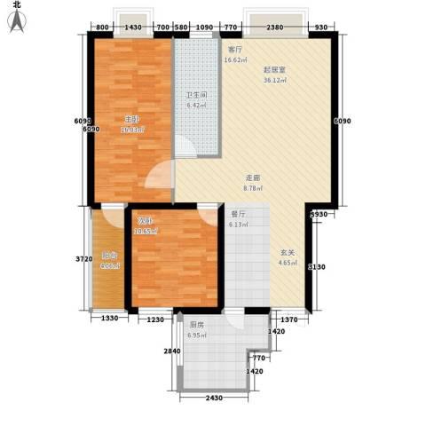 金源经典2室0厅1卫1厨90.00㎡户型图