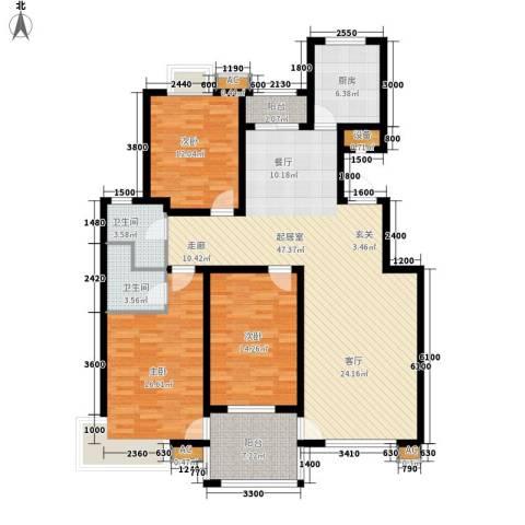 万锦花语岸3室0厅2卫1厨145.00㎡户型图