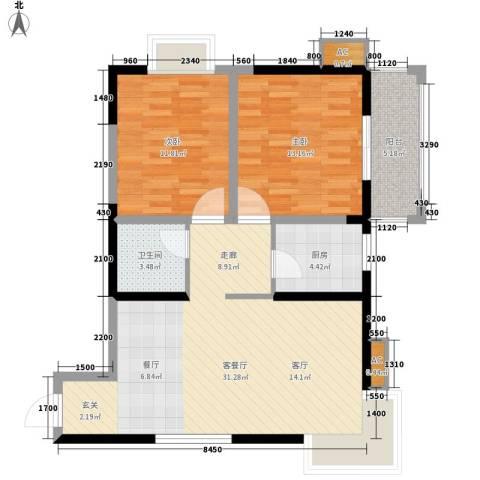 高科花园2室1厅1卫1厨96.00㎡户型图