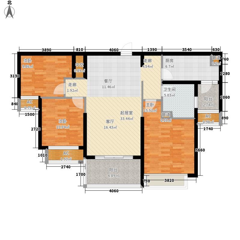 恒大名都109.11㎡5号楼二单元三室户型3室2厅
