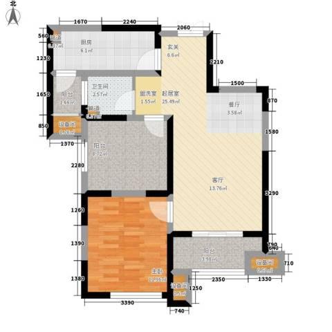 复地优尚国际1室0厅1卫1厨74.00㎡户型图