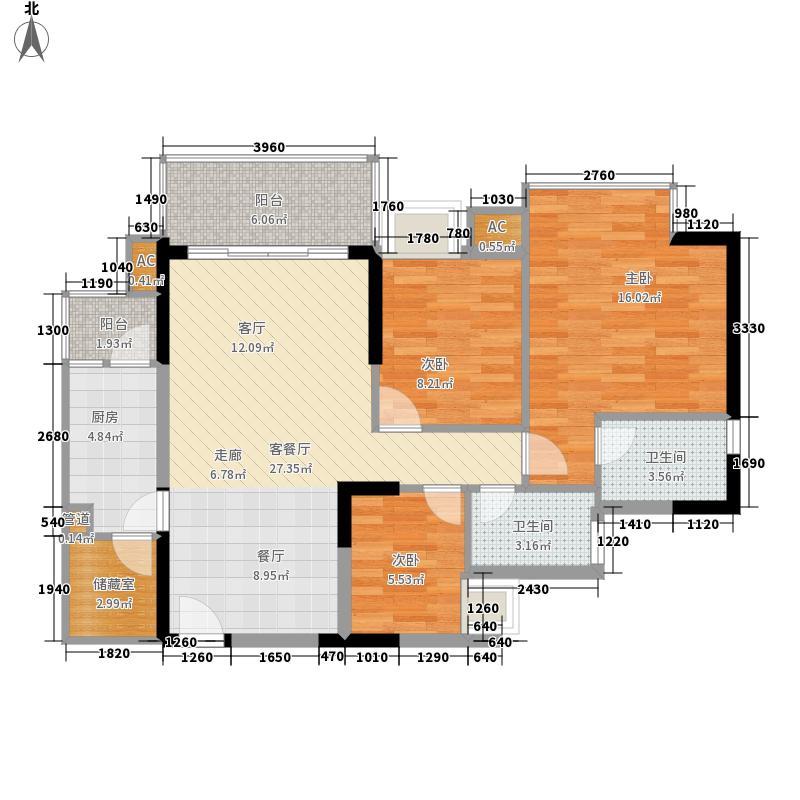 瀚林水岸91.67㎡C栋02单元3室2面积9167m户型