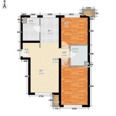 世纪金园2室0厅1卫1厨88.00㎡户型图