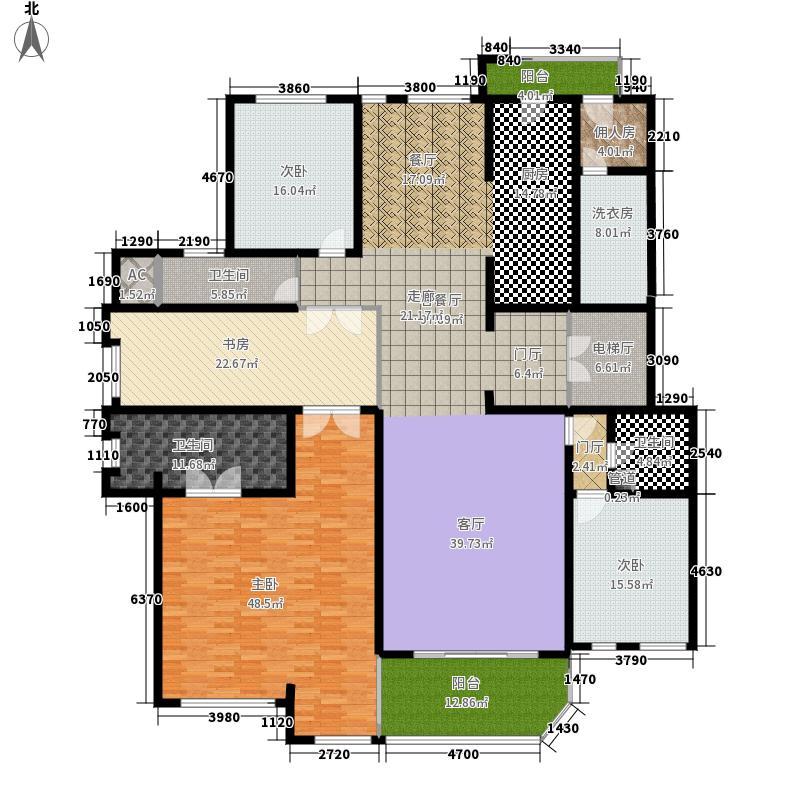 海珀兰轩293.00㎡3#楼A标准层面积29300m户型