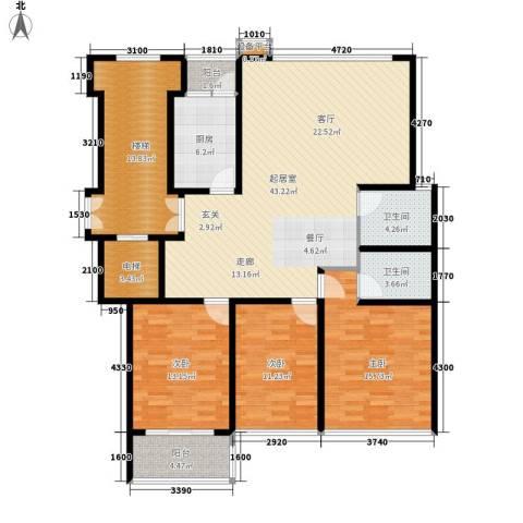 苏宁馨瑰园3室0厅2卫1厨136.00㎡户型图