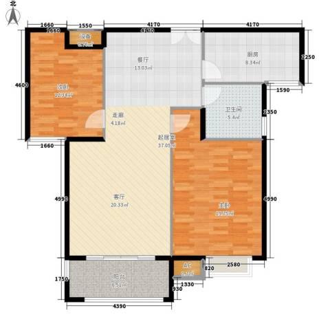 金源御景华府2室0厅1卫1厨125.00㎡户型图