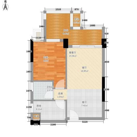 时代花生1室1厅1卫1厨55.00㎡户型图