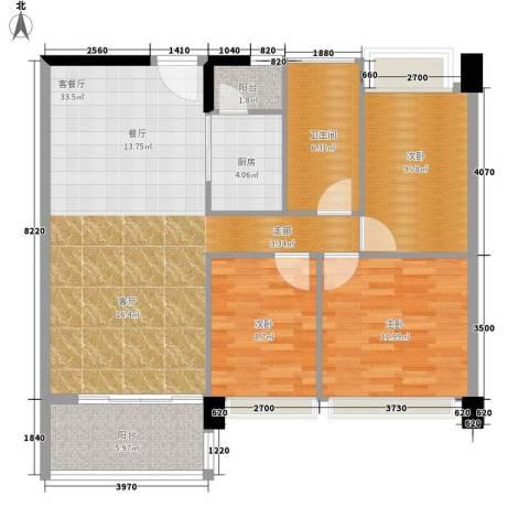 时代花生3室1厅1卫1厨91.00㎡户型图