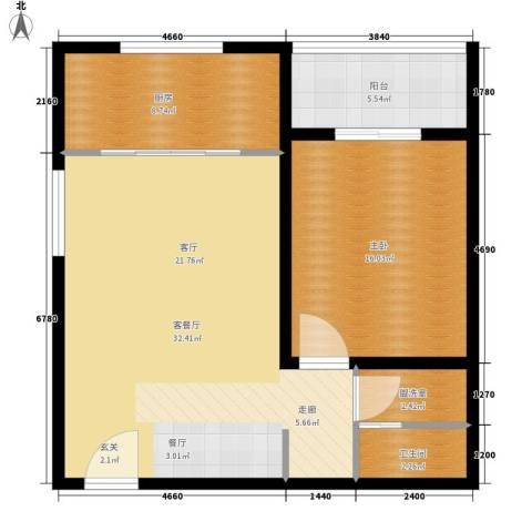 亚美大厦聚福阁1室1厅1卫1厨67.41㎡户型图