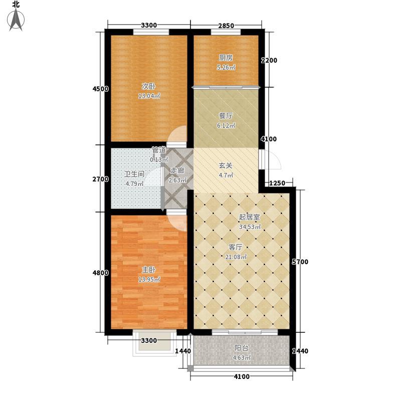 左岸阳光户型图两室两厅一卫(1/4张)