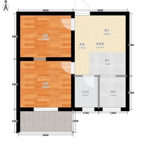 达成馨苑2室0厅1卫1厨58.00㎡户型图