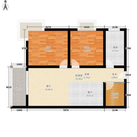 晶筑逸品2室0厅1卫1厨103.00㎡户型图