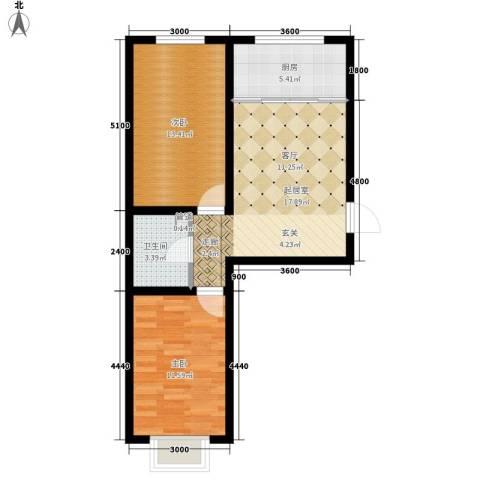 左岸阳光2室0厅1卫1厨68.00㎡户型图