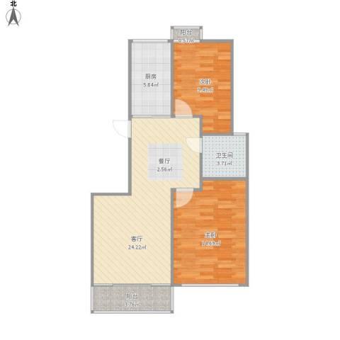 乾和福邸2室1厅1卫1厨84.00㎡户型图