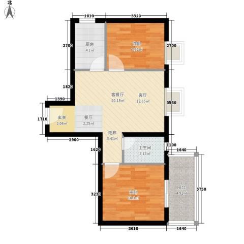 蓝山公馆2室1厅1卫1厨70.00㎡户型图
