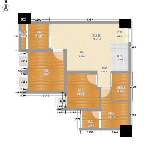 荣华北经城2室0厅1卫1厨69.00㎡户型图