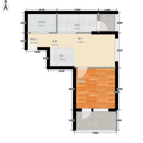 唐门一品 观澜1室1厅1卫1厨62.00㎡户型图