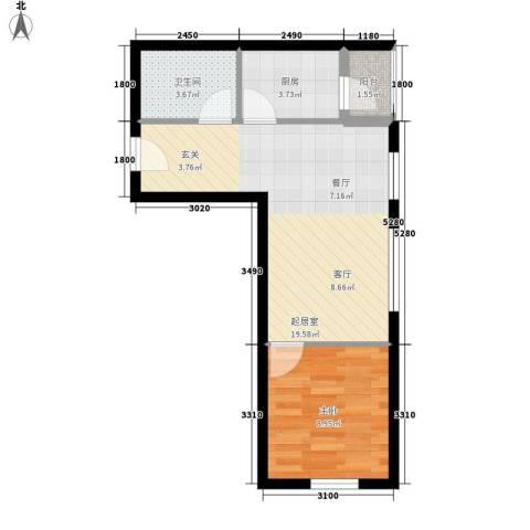 唐门一品 观澜1室0厅1卫1厨54.00㎡户型图